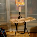 Tripod Easel and Palette Case, painting on easel with case open