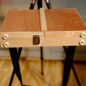 Tripod Easel and Palette Case, case closed, latch and rubber feet