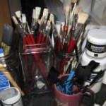 cleaning  artist brushes…
