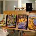 Easel Panel by Spence Munsinger, four paintings in place on Klopfenstein easel